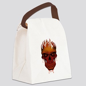 Flame Skull Canvas Lunch Bag