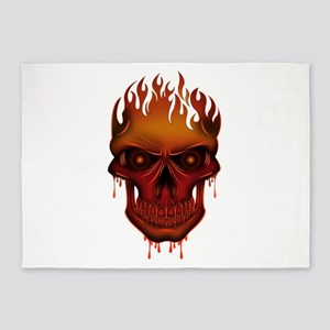 Flame Skull 5'x7'Area Rug