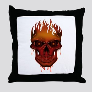 Flame Skull Throw Pillow