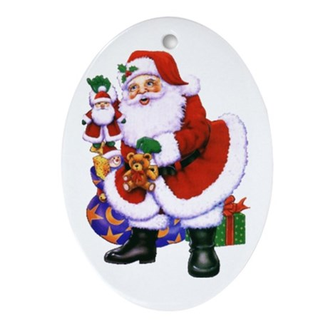 Santa Christmas Oval Ornament