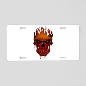 Flame Skull Aluminum License Plate