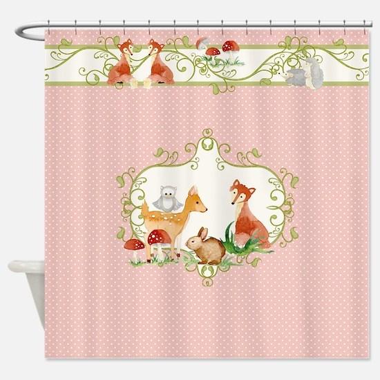 Woodland Forest Animals Deer Fox bu Shower Curtain