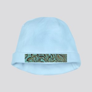 Western country Turquoise leather baby hat