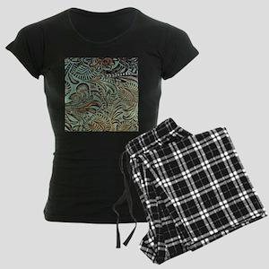 Western country Turquoise le Women's Dark Pajamas