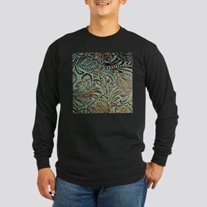 Western country Turquoise leat Long Sleeve T-Shirt