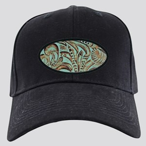 Western country Turquoise leather Black Cap