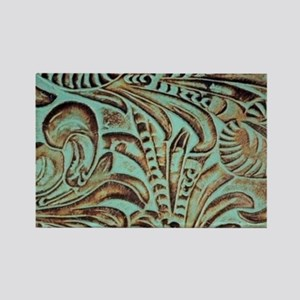 Western country Turquoise leather Magnets
