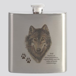 Wolf Totem Animal Guide Watercolor Nature Ar Flask