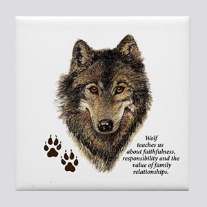Wolf Totem Animal Guide Watercolor Na Tile Coaster