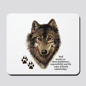 Wolf Totem Animal Guide Watercolor Natur Mousepad