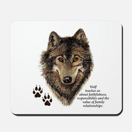 Wolf Totem Animal Guide Watercolor Natur Mousepad