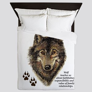 Wolf Totem Animal Guide Watercolor Nat Queen Duvet