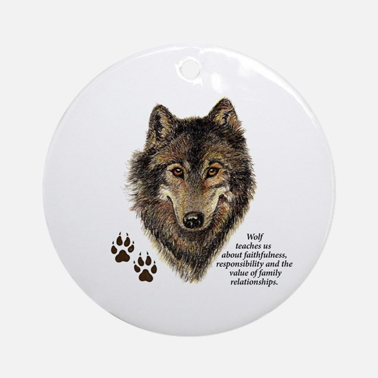 Wolf Totem Animal Guide Watercolor Round Ornament