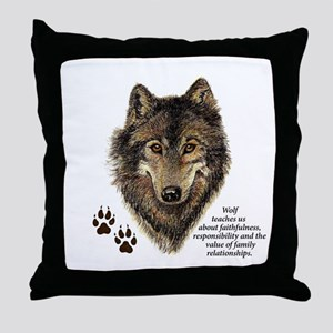 Wolf Totem Animal Guide Watercolor Na Throw Pillow