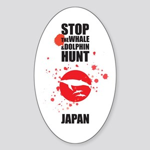 STOP THE WHALE & DOLPHIN HUNT Oval Sticker
