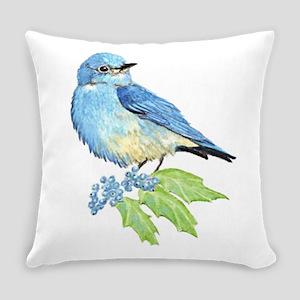 Watercolor Mountain Bluebird Bird Everyday Pillow