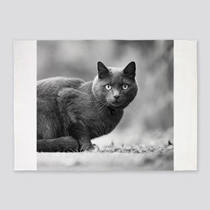 Black and White Cat 5'x7'Area Rug