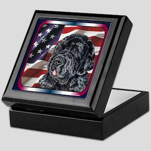 Newfoundland Dog Patriotic USA Flag Keepsake Box