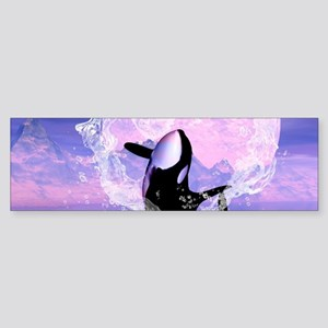 Orca jumping by a heart Bumper Sticker