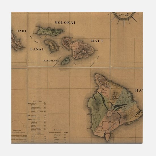 Vintage Map of Hawaii (1876) Tile Coaster