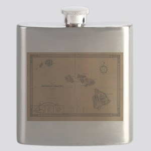 Vintage Map of Hawaii (1876) Flask