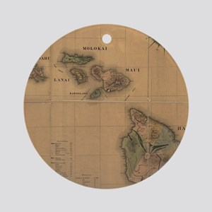 Vintage Map of Hawaii (1876) Round Ornament
