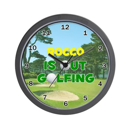 Rocco is Out Golfing - Wall Clock