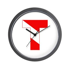 https://i3.cpcache.com/product/189265120/scuba_flag_letter_t_wall_clock.jpg?side=Front&height=240&width=240