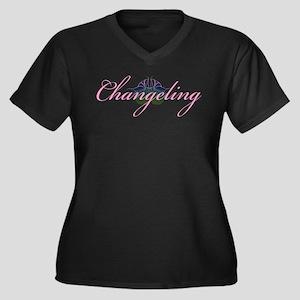 Changeling Women's Plus Size V-Neck Dark T-Shirt