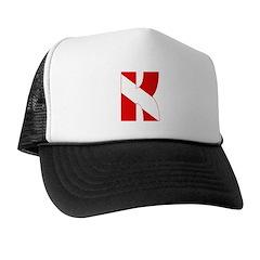 https://i3.cpcache.com/product/189275735/scuba_flag_letter_k_trucker_hat.jpg?color=BlackWhite&height=240&width=240