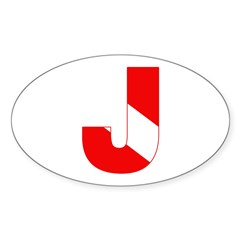 https://i3.cpcache.com/product/189276664/scuba_flag_letter_j_oval_decal.jpg?color=White&height=240&width=240