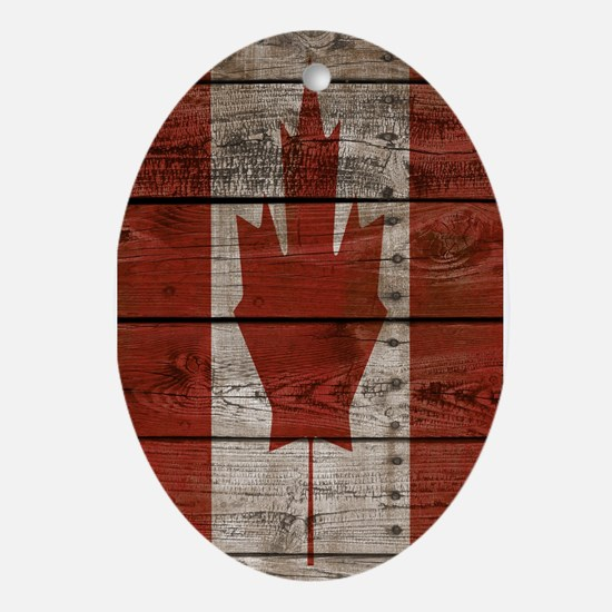 Wood boards Canadian flag Oval Ornament
