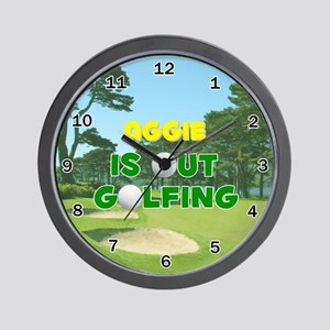 Aggie is Out Golfing - Wall Clock