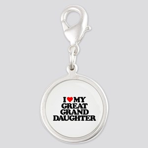 I LOVE MY GREAT GRANDDAUGHTER Silver Round Charm