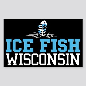 Ice Fish Wisconsin Rectangle Sticker