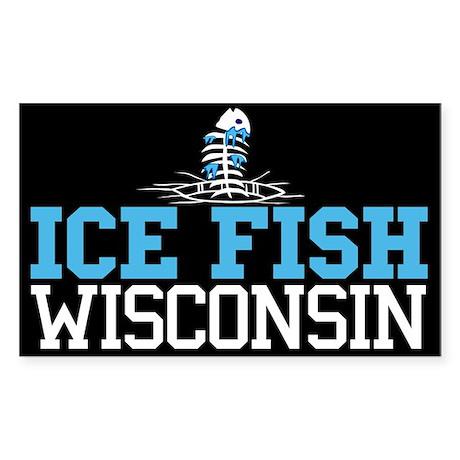 Ice Fish Wisconsin Rectangle Sticker