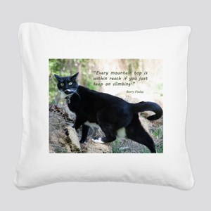 Mounteneering cat Square Canvas Pillow