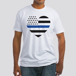 Blue Lives Matter Heart Fitted T-Shirt