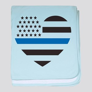 Blue Lives Matter Heart baby blanket