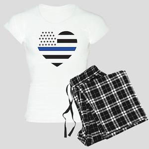 Blue Lives Matter Heart Women's Light Pajamas