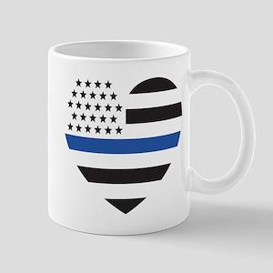 Blue Lives Matter Heart 11 oz Ceramic Mug