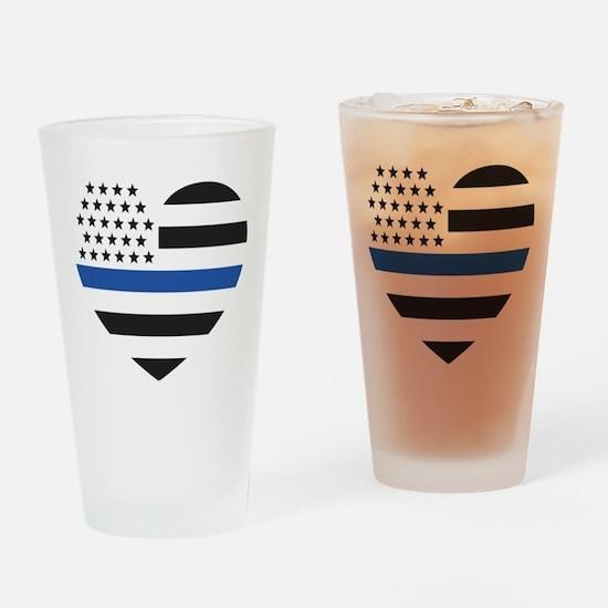 Blue Lives Matter Heart Drinking Glass