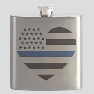 Blue Lives Matter Heart Flask