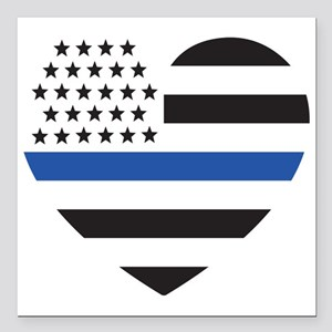 "Blue Lives Matter Heart Square Car Magnet 3"" x 3"""