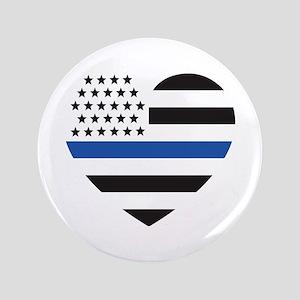"""Blue Lives Matter Heart 3.5"""" Button"""