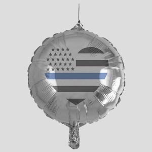 Blue Lives Matter Heart Mylar Balloon