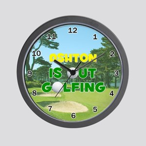 Ashton is Out Golfing - Wall Clock