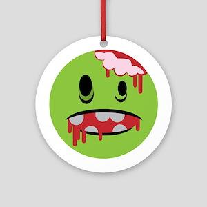 unhappy undead zombie smiley Ornament (Round)
