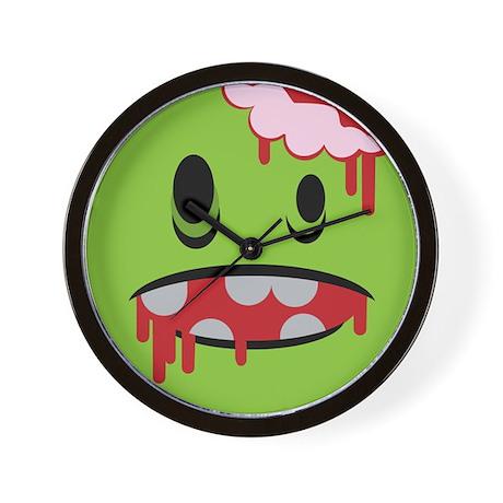 unhappy undead zombie smiley Wall Clock