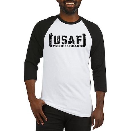 Proud USAF Hsbnd - Tatterd Style Baseball Jersey